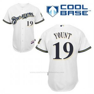 Camiseta Beisbol Hombre Milwaukee Brewers Robin Yount 19 Blanco 1ª Cool Base
