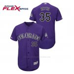 Camiseta Beisbol Hombre Colorado Rockies Chad Bettis 150th Aniversario Patch Flex Base Violeta