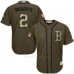 Camiseta Beisbol Hombre Boston Red Sox 2 Xander Bogaerts Verde Salute To Service