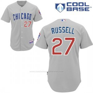 Camiseta Beisbol Hombre Chicago Cubs 27 Addison Russell Gris Cool Base