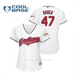 Camiseta Beisbol Mujer Cleveland Indians Trevor Bauer 2019 All Star Game Patch Cool Base Blanco