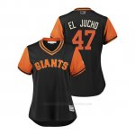Camiseta Beisbol Mujer San Francisco Giants Johnny Cueto 2018 Llws Players Weekend El Jucho Negro