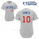 Camiseta Beisbol Hombre Chicago Cubs 10 Ron Santo Gris Cool Base