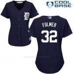 Camiseta Beisbol Mujer Detroit Tigers 32 Michael Fulmer Azul Cool Base