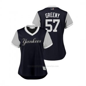 Camiseta Beisbol Mujer New York Yankees Chad Green 2018 Llws Players Weekend Greeny Azul