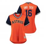 Camiseta Beisbol Mujer Houston Astros Brian Mccann 2018 Llws Players Weekend Uno Seis Orange