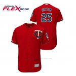 Camiseta Beisbol Hombre Minnesota Twins Byron Buxton 150th Aniversario Patch Autentico Flex Base Rojo