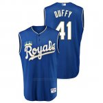 Camiseta Beisbol Hombre Kansas City Royals Danny Duffy Throwback Turn Ahead Azul