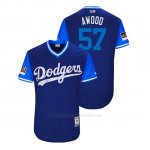 Camiseta Beisbol Hombre Los Angeles Dodgers Alex Wood 2018 Llws Players Weekend Awood Royal