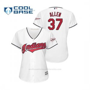 Camiseta Beisbol Mujer Cleveland Indians Cody Allen 2019 All Star Game Patch Cool Base Blanco