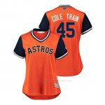 Camiseta Beisbol Mujer Houston Astros Gerrit Cole 2018 Llws Players Weekend Cole Train Orange