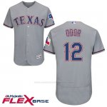 Camiseta Beisbol Hombre Texas Rangers 12 Rougned Odor Gris Flex Base