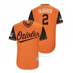 Camiseta Beisbol Hombre Baltimore Orioles Danny Valencia 2018 Llws Players Weekend Slugger Orange
